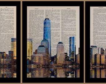 New York 3 Piece Set Dictionary Art Print Nyc Skyline Triptych World Trade Center Upcycled Book Wall Art Home da687