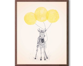 Baby Zebra Watercolor, Neutral Gender Nursery Decor, Zebra Nursery Art, Yellow and Gray Nursery, Safari Animal Art, Kids Wall Art, Z107WN