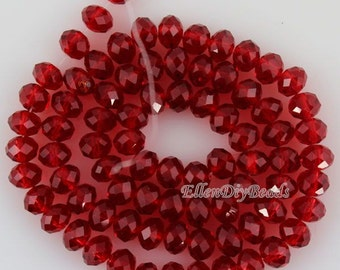 100 Pieces,New 6mm Romantic Wine Red Rondelle Faceted Crystal Beads,Wine Red Crystal Beads,1Strand,Gemstone Beads,Supplies-BR048