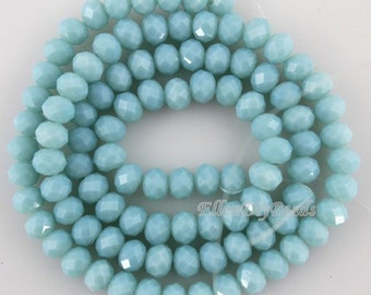 100 Pieces,6mm Romantic Blue Rondelle Faceted Crystal Beads,Fashion Blue Crystal Beads,1Strand,Gemstone Beads,Supplies-BR075