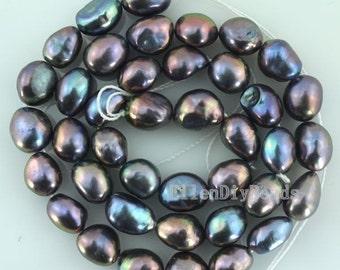 Natural Baroque pearl Freshwater Pearl Potato Loose Black Color 8-9mm 36pcs Full Strand Item No-BP019