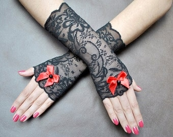 Elegant GOTHIC VAMPIRE Glamour GLOVES black lace gloves with red satin bow, prom, goth