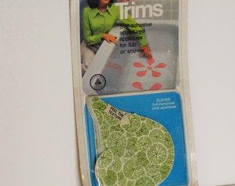 Vintage Tub Appliques - Non Slip Avacado Green Shower Tub Stickers