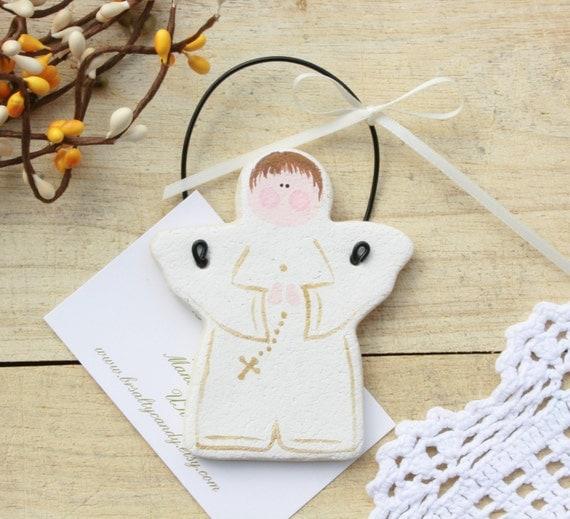 Baptism Heart Ornament: Angel Boy Salt Dough Ornaments Baptism 1st Communion