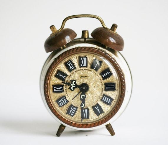 vintage mechanical clock Jerger copper desk clock gift for