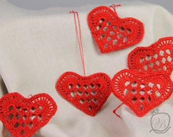 Set of 6 Crochet Hearts Home decorations Red Crochet Hearts Wedding decorations gifts decoration Valentine's ornament