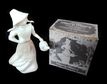 Vintage Avon Mary Mary - Sweet Honesty Cologne - 1970s - perfume, collectible, figurine, girl, decanter, nursery rhyme, white, garden, NIB