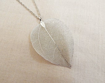 Real Leaf Necklace, Real Leaf Pendant, Real Leaf Jewelry, Long Necklace