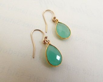 Aqua Chalcedony Earrings, Chalcedony Jewelry