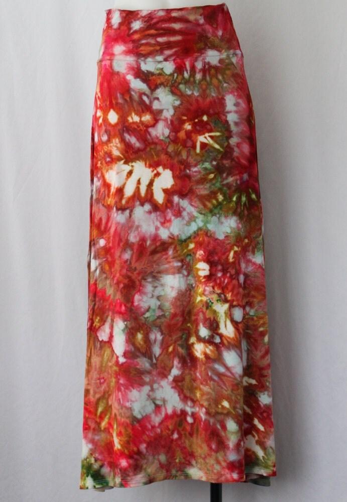tie dye maxi boho skirt dyed tie dye by aspoonfulofcolors