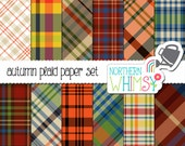Fall Digital Paper - Autumn plaid digital paper – fall plaid pattern – masculine scrapbook paper - instant download - commercial use OK