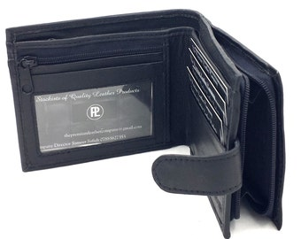 Men's Handmade Leather Wallet in Black with Zip Coin Pocket by Premium Leather