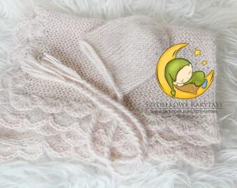 Adele - newborn blanket - luxury angora yarn - photo prop