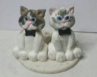 DEPOSIT ONLY, Custom Made Polymer Clay Cat Wedding Cake Topper, Bride and Groom