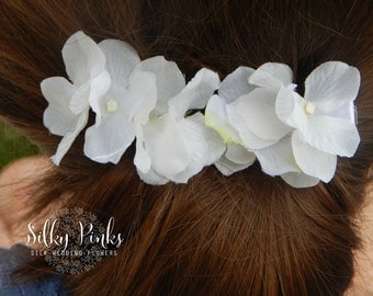Floral Hair Clips, White Hydrangea Hair Accessories,