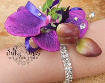Wrist Corsage, Purple Orchid and Chrystal Wedding Flower, Mother of the Bride, Prom Wristlet, Flower Wrist Corsage