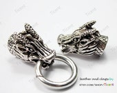 10mm Hole Antique Silver Dragon Clasp/Connetctor. Two Dragons Biting Ring, Charm Clasps MT514