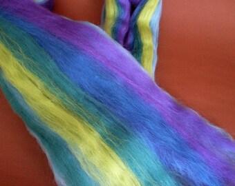 50gr- 1.76 oz Multicolour Merino Wool Roving/Top 21 Micron (Light green-purple-blue)