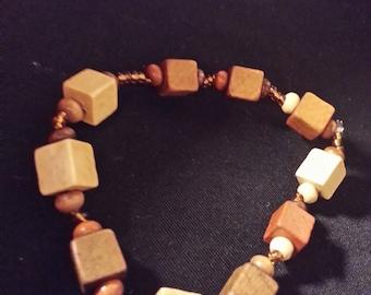 Wood and Glass Beaded Bracelet