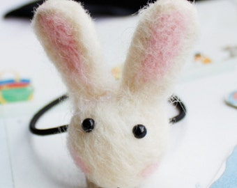 Hair Accessory - Wool Felt Rabbit Bunny, Mustroom, Heart - Hair Tie / Hair Clip