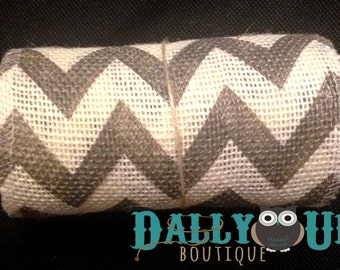 "Burlap Gray and Cream Chevron Ribbon 5 "" - Home Decor - Bows - Crafts - Weddings - Baby Showers"