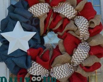 Fun 4th of July Burlap Wreath - Patriotic Burlap Wreath - Americana wreath, Burlap Wreaths, Chevron Wreath