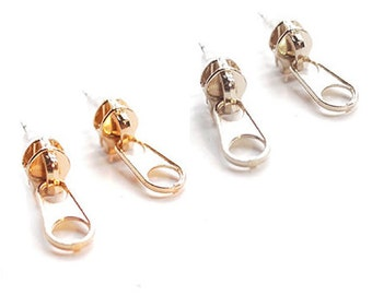 Zip! Dainty Zipper Hanging Stud Earrings in Choice of 18k Gold Plated or Silver Plated Finish