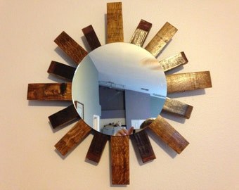 Sunburst Wall Mirror made from recycled Wine  Barrel Staves