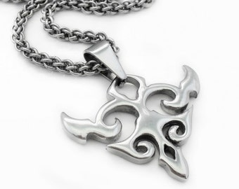 """Stainless Steel Tribal Pendant Necklace with Handmade JPL3 Chainmaille Rope Chain - 60cm / 23.5"""""""