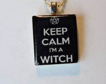 Keep Calm I am a Witch Scrabble Tile Charm Necklace