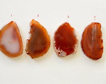 Agate Slice Pendant, Reddish Brown Agate Pendant, Large Agate Slice, Agate Geode Slice Pendant, Stone Pendant, Group K