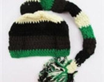 Green Ivory Black Brown Striped Crochet Elf Newborn Hat