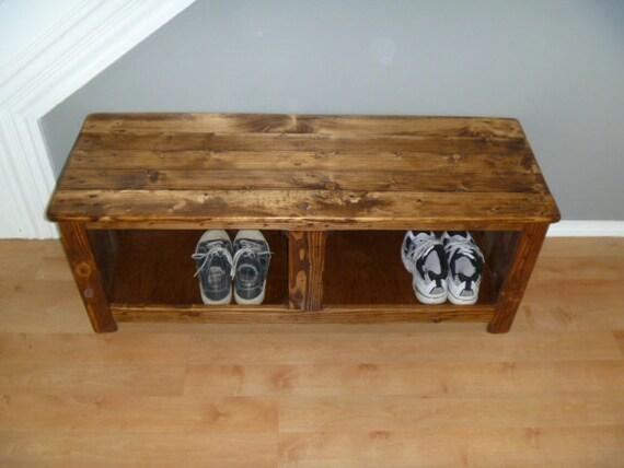 Items similar to rustic bench shoe rack repurposed wood - Table cuisine palette ...