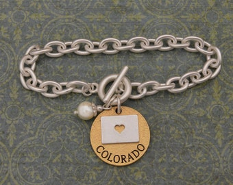 Colorado Love Toggle Bracelet with Pearl Accent - 22492