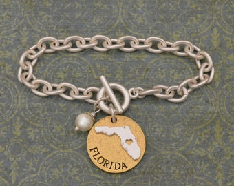 Florida Love Toggle Bracelet with Pearl Accent - 22493