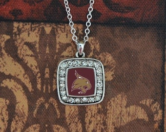Texas State Bobcats Square Necklace