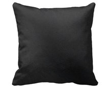 Black Leather Zippered Throw Pillow Cover - Real Leather -Lightweight Fused Cowhide - 14x14 16x16 18x18 20x20 - Removable Case Cushion