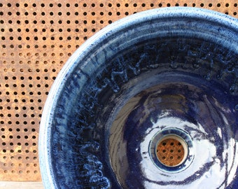 "14"" Handthrown Cobalt Ceramic Sink"