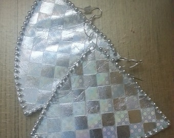 Holographic triangle leather hanging earrings