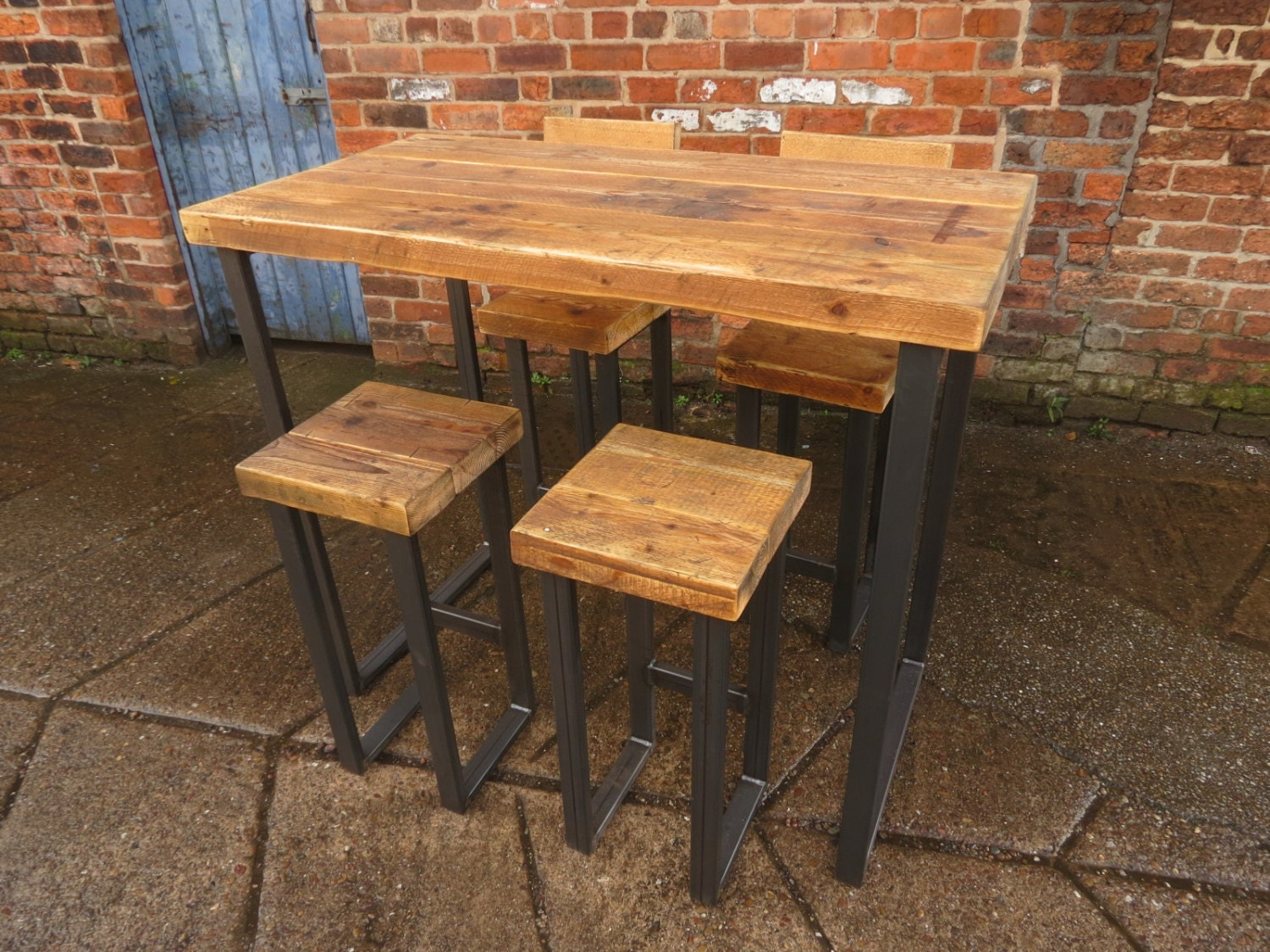 Reclaimed industrial 4 seater chic tall poseur table wood for Table haute industrielle