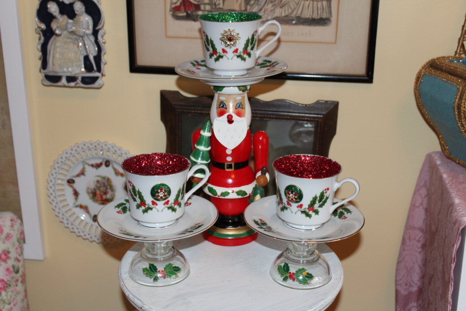 Set of three christmas teacup centerpieces or candle holders