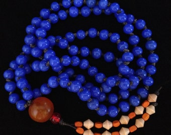 Cobalt Blue Glass Bead Japa Mala / Prayer Bead Strand