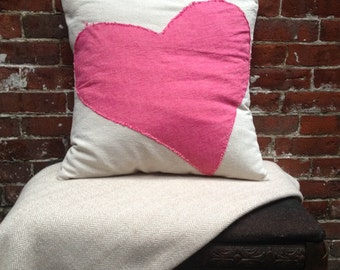 """Chambray Heart Pillow Cover, 20""""x20"""""""