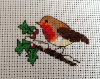 COMPLETED CROSS STITCH - Xmas Robin  -Ideal for Card Makers