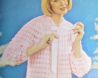 Womens vintage crochet bedjacket pattern crocheted bed jacket pdf INSTANT download pattern only pdf 1960s