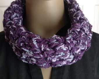 Scarves/crochet cowl/cuff/circle scarf/loop scarf/accessories/Mother's Day gift/shades of purple