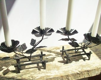 Black Rose Candleholders / Arts and Craft Style / Vintage Striking Black Flowers Goth