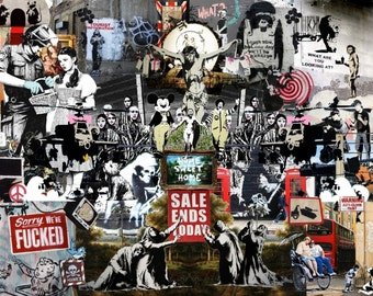 Banksy Wall Poster, Montage Wall Art, Picture Print A0