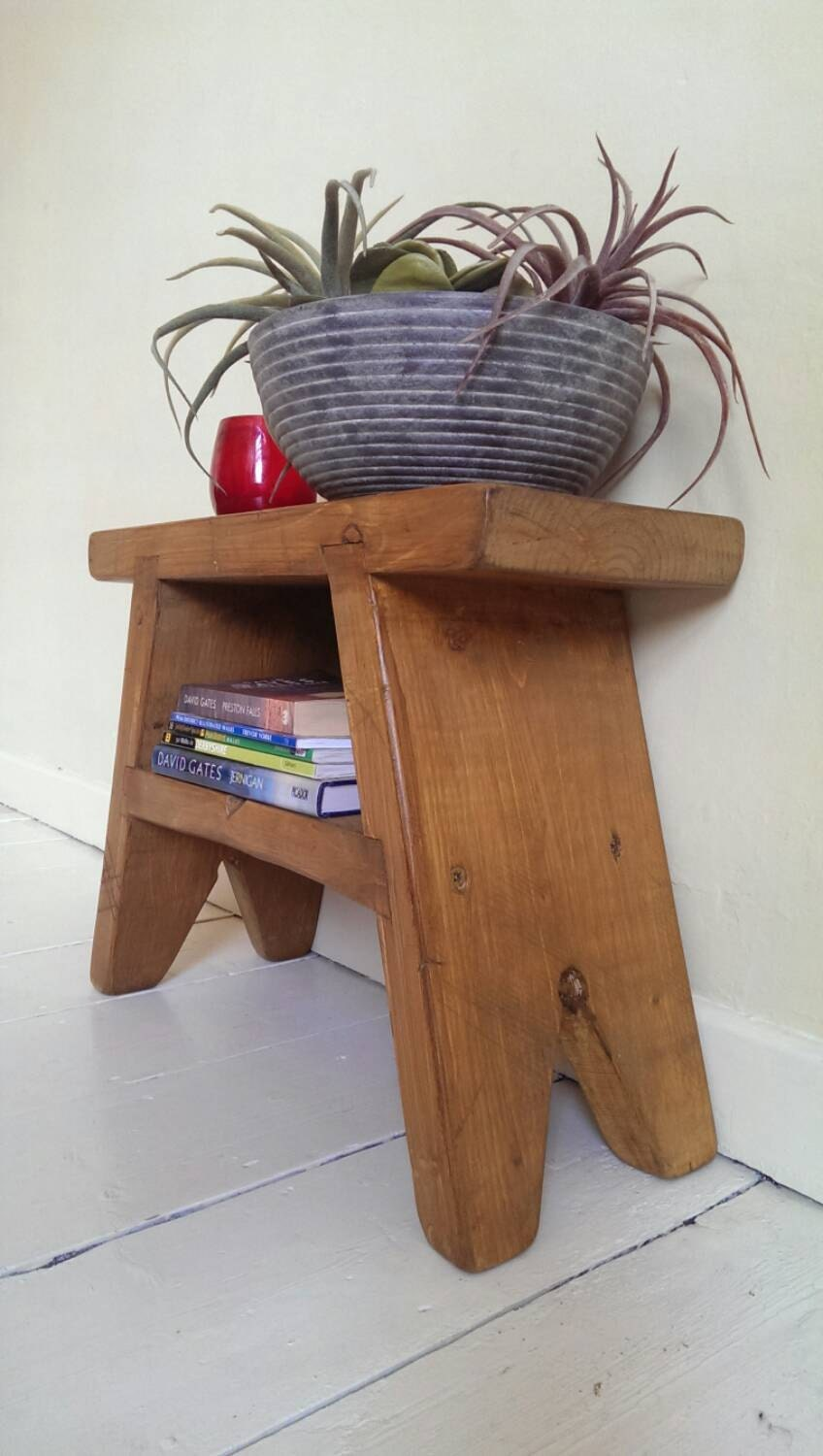 Stool Bedside Table: Handmade Rustic Foot Stool / Bedside Table / By WindsorDesign