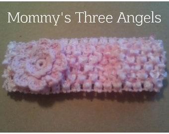 READY TO SHIP Pink Crochet Flower Headband